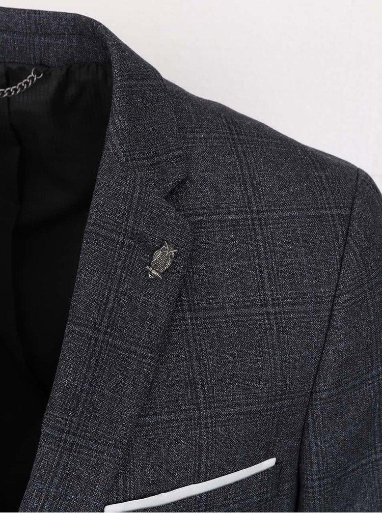 Tmavě šedé kostkované skinny fit sako Burton Menswear London
