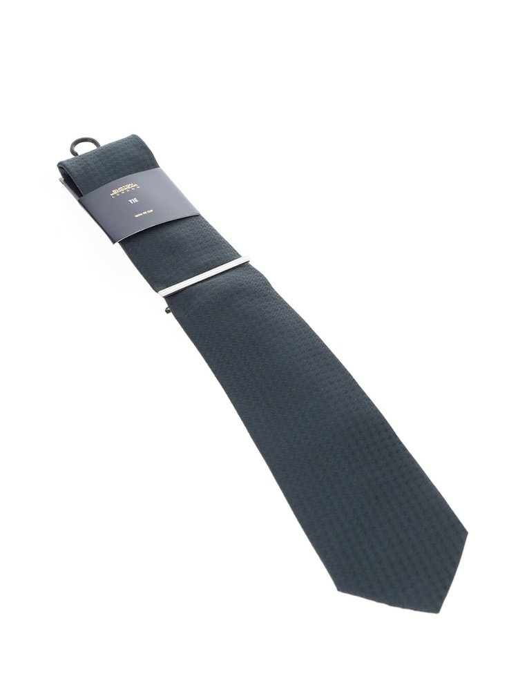 Tmavě zelená kravata s jemným vzorem Burton Menswear London
