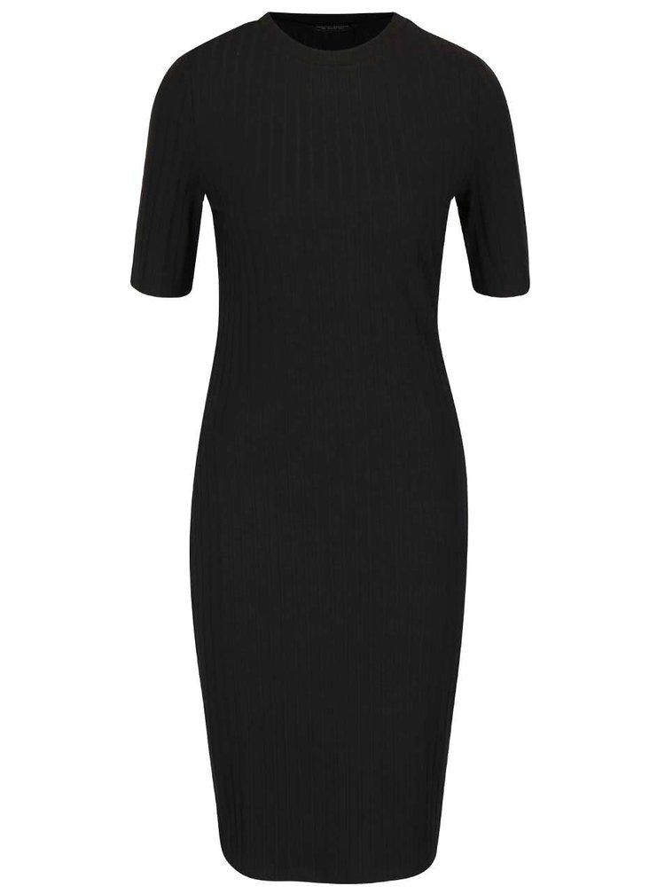 Čierne rebrované šaty Dorothy Perkins