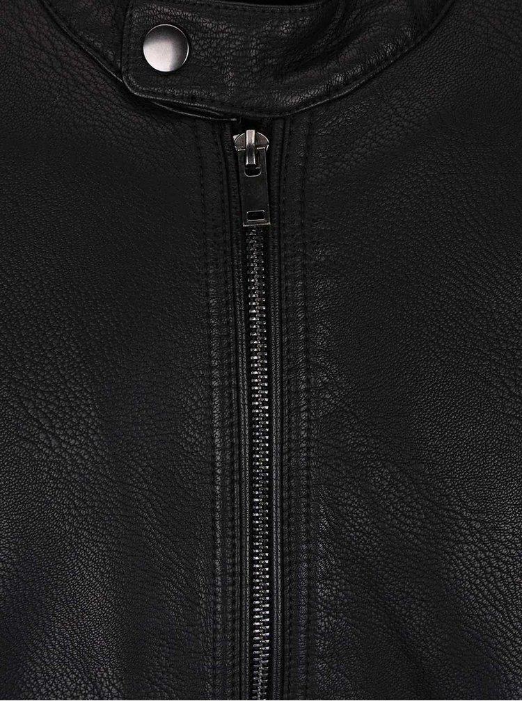 Černá koženková bunda Burton Menswear London