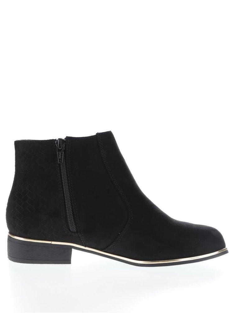 Čierne členkové topánky v semišovej úprave s detailmi v zlatej farbe Dorothy Perkins