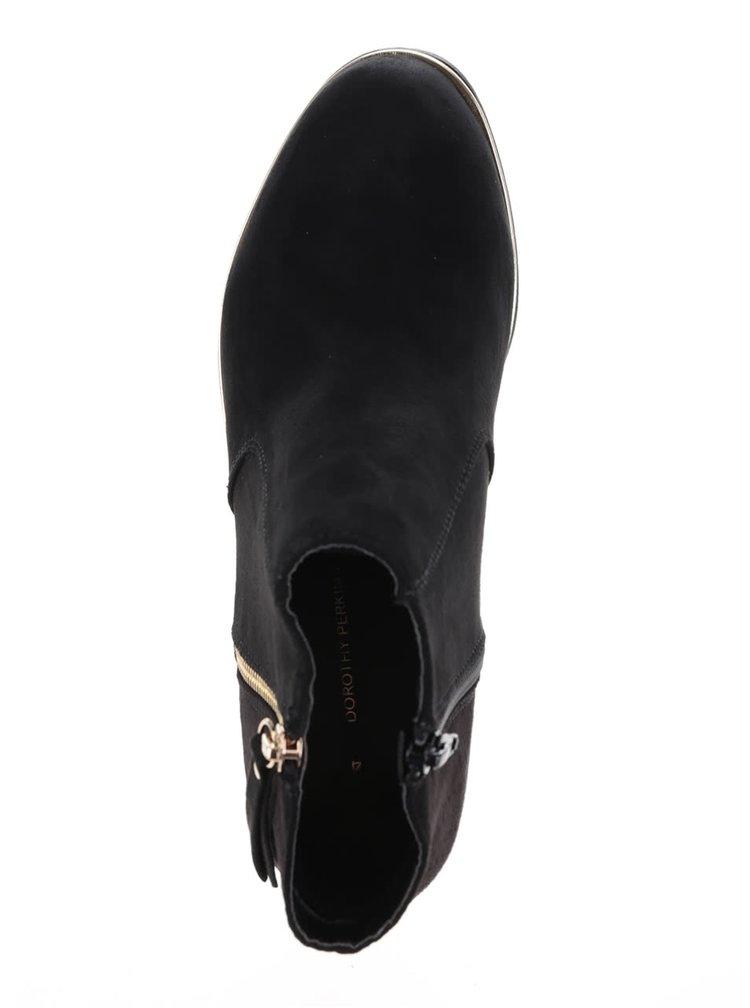 Černé kotníkové boty v semišové úpravě  s detaily ve zlaté barvě Dorothy Perkins