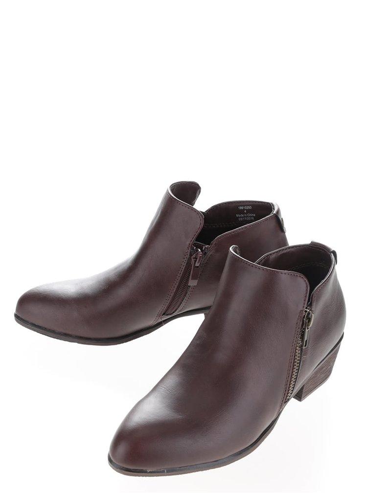 Hnědé kotníkové boty na zip Dorothy Perkins