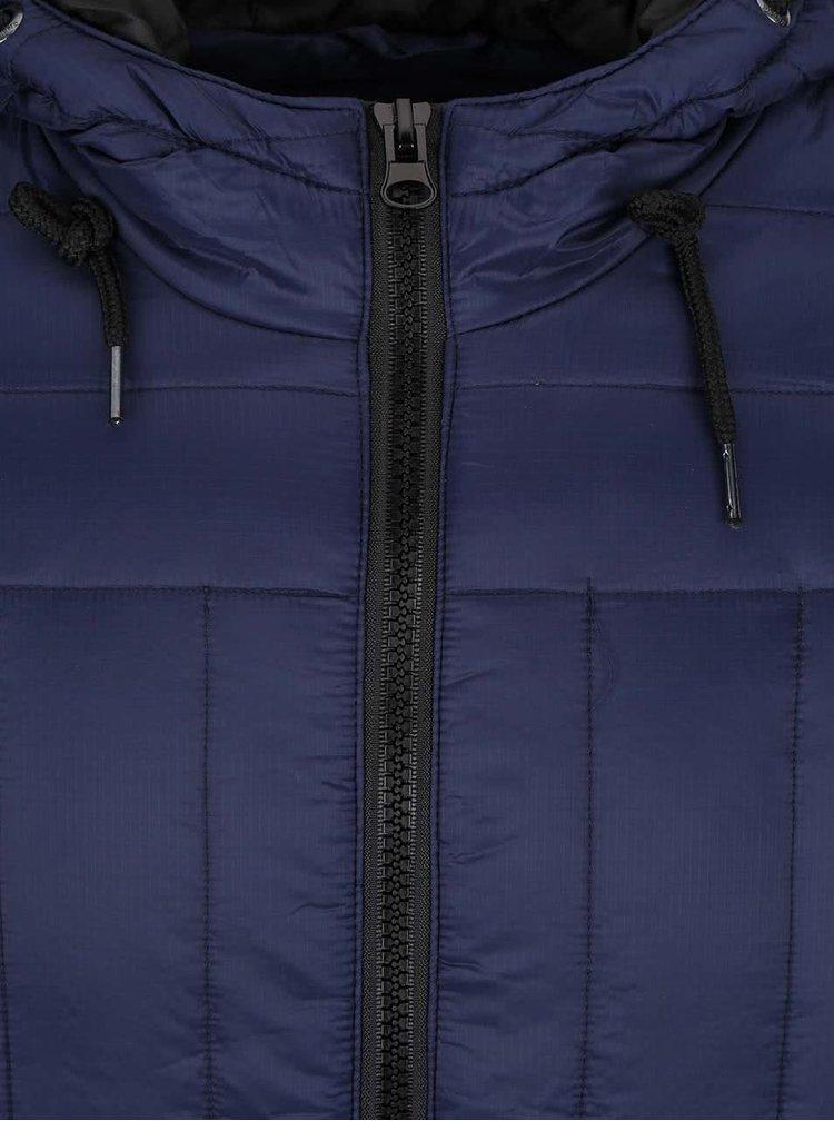 Tmavomodrá prešívaná bunda s kapucňou Blend