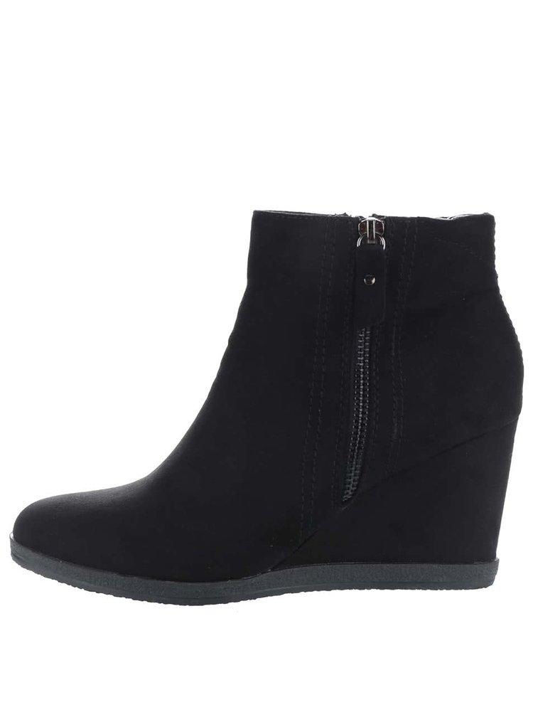 Černé kotníkové boty na klínku Dorothy Perkins