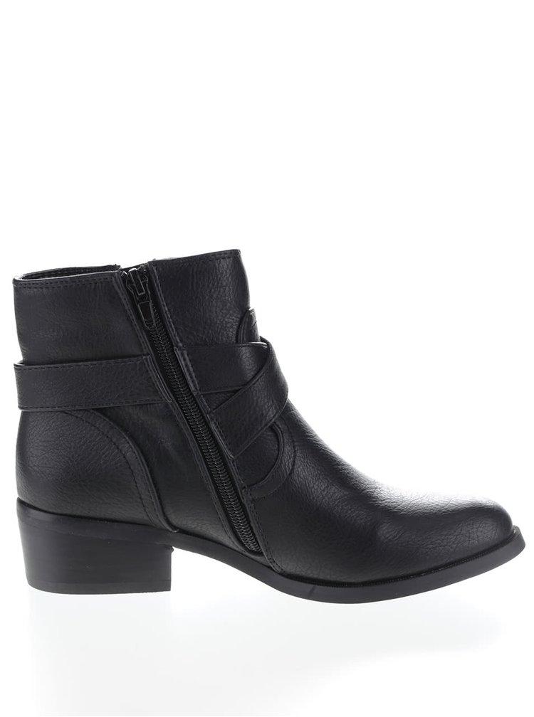 Čierne členkové topánky s remienkami cez priehlavok Dorothy Perkins