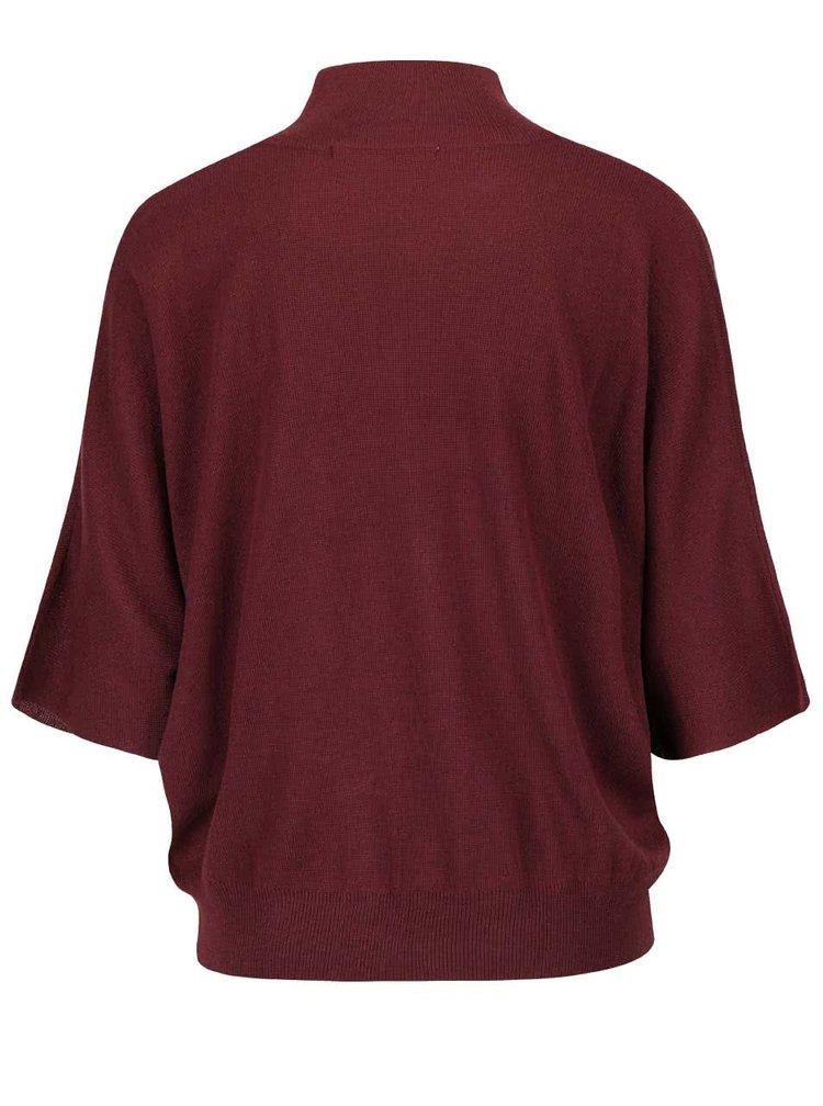 Vínový sveter s kimonovými rukávmi YAYA