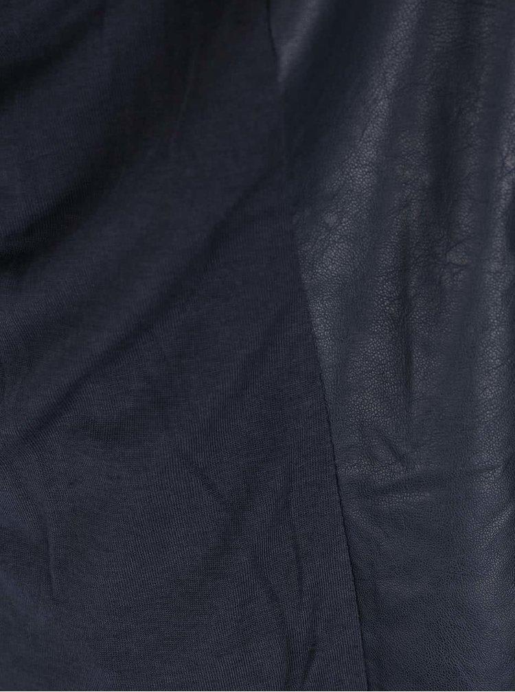 Tmavomodrá koženková bunda YAYA