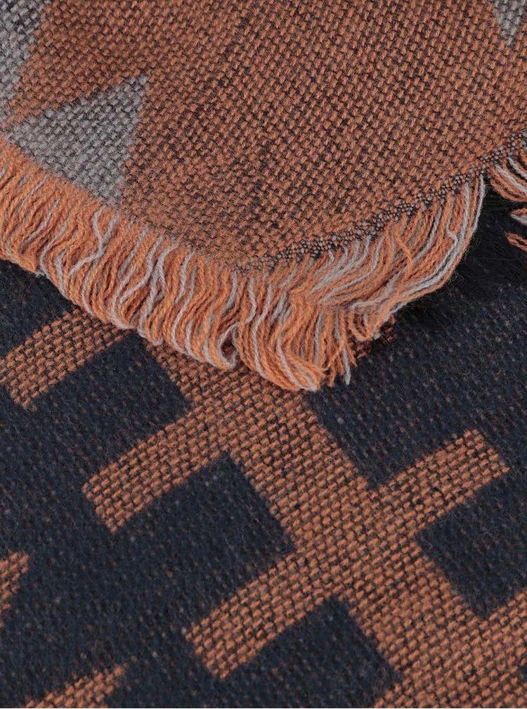 Oranžovo-modrá dlouhá vzorovaná šála Pieces Patience