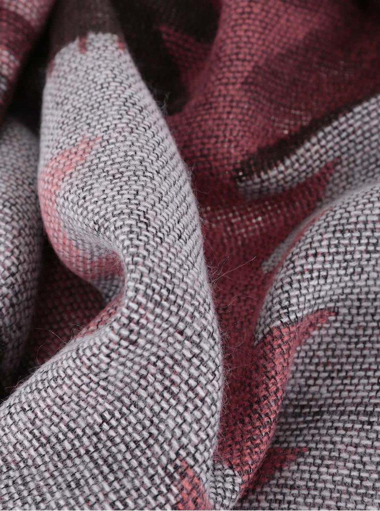 Ružovo-hnedý dlhý vzorovaný šál Pieces Patience