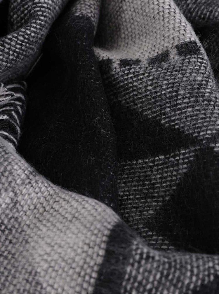 Sivo-čierny dlhý vzorovaný šál Pieces Patience
