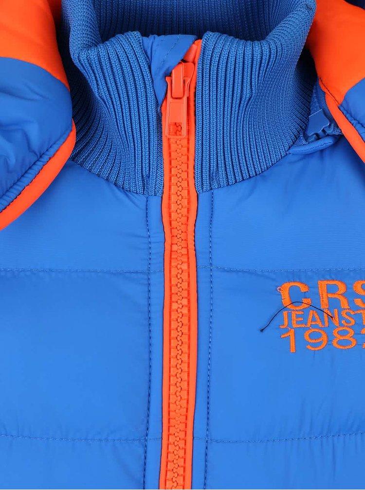 Modrá chlapčenská bunda s oranžovými detailmi Cars Jeans Oria