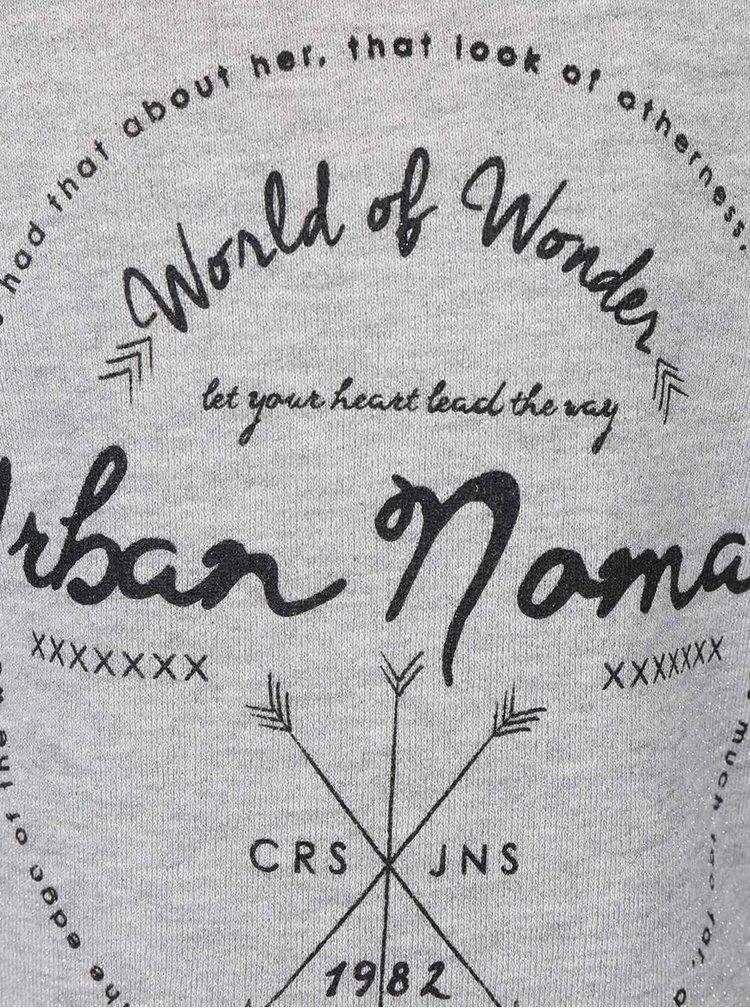 Bluză lungă gri Cars Jeans Nomad cu mâneci negre