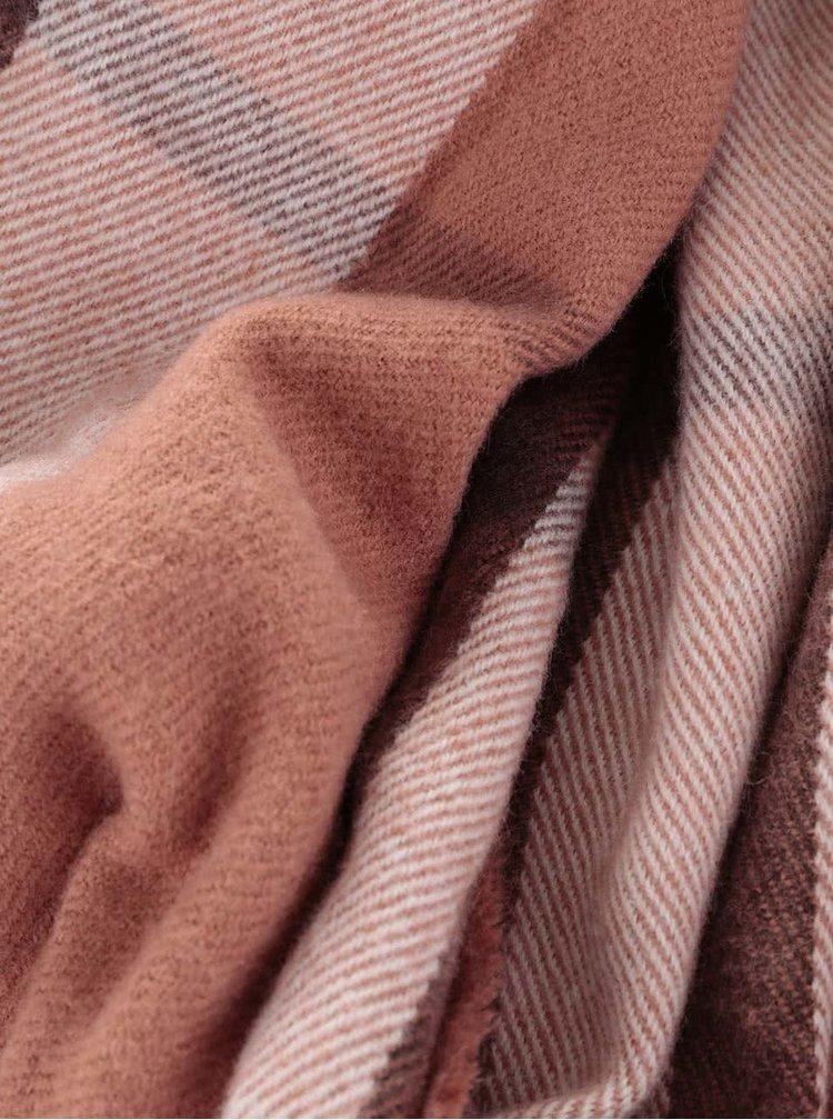 Hnedý dlhý károvaný šál Pieces Petaxa