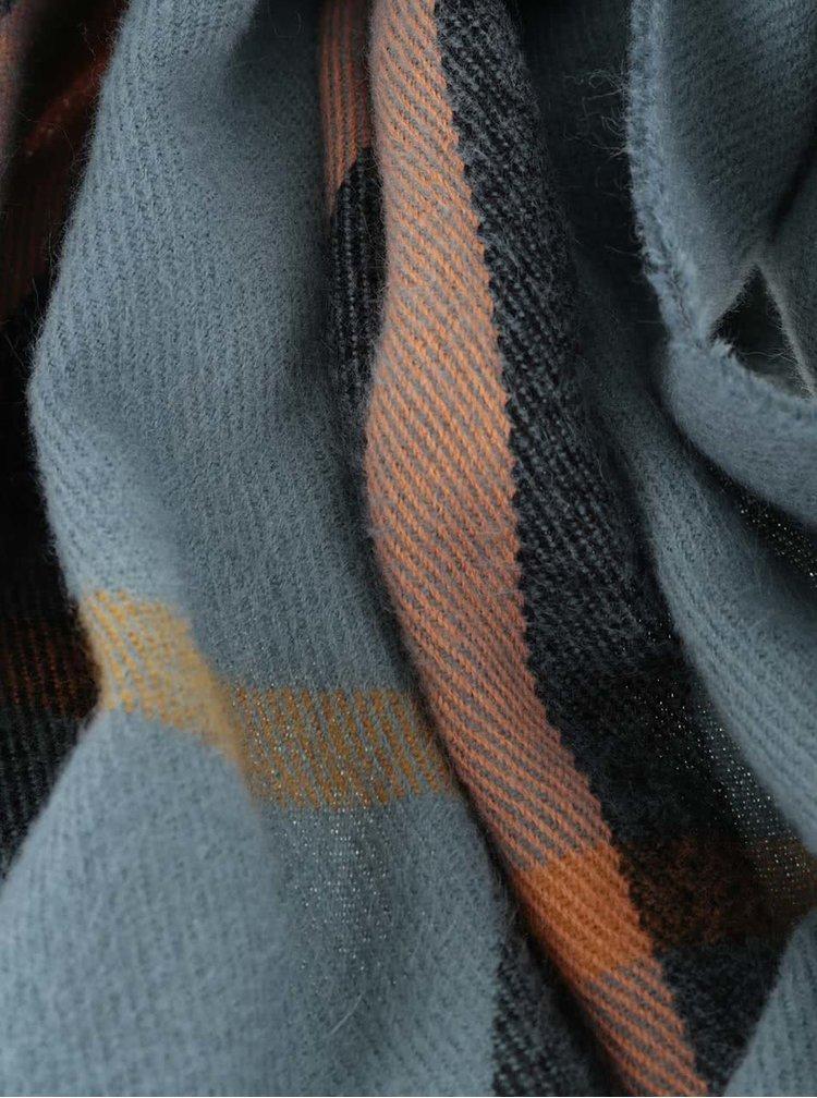 Oranžovo-zelený dlhý károvaný šál Pieces Petaxa