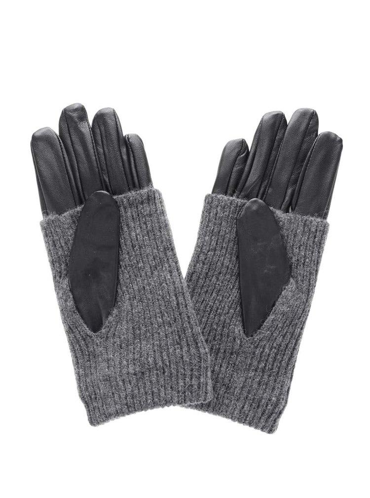 Šedo-černé kožené rukavice Pieces Patty