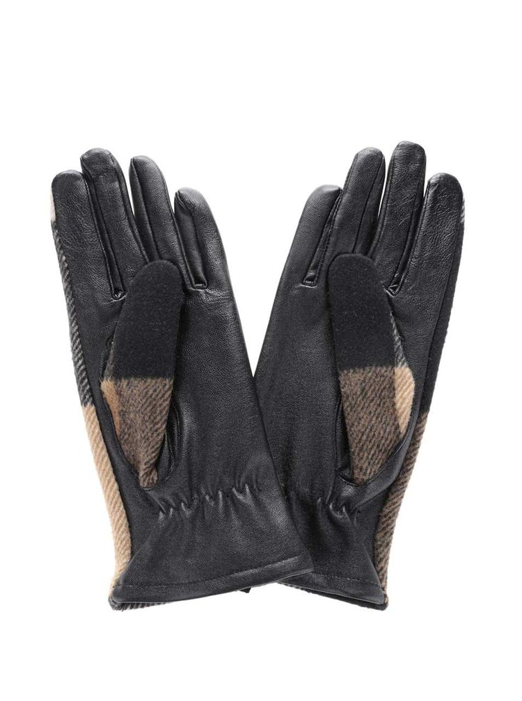Béžovo-čierne kožené rukavice Pieces Pecheck