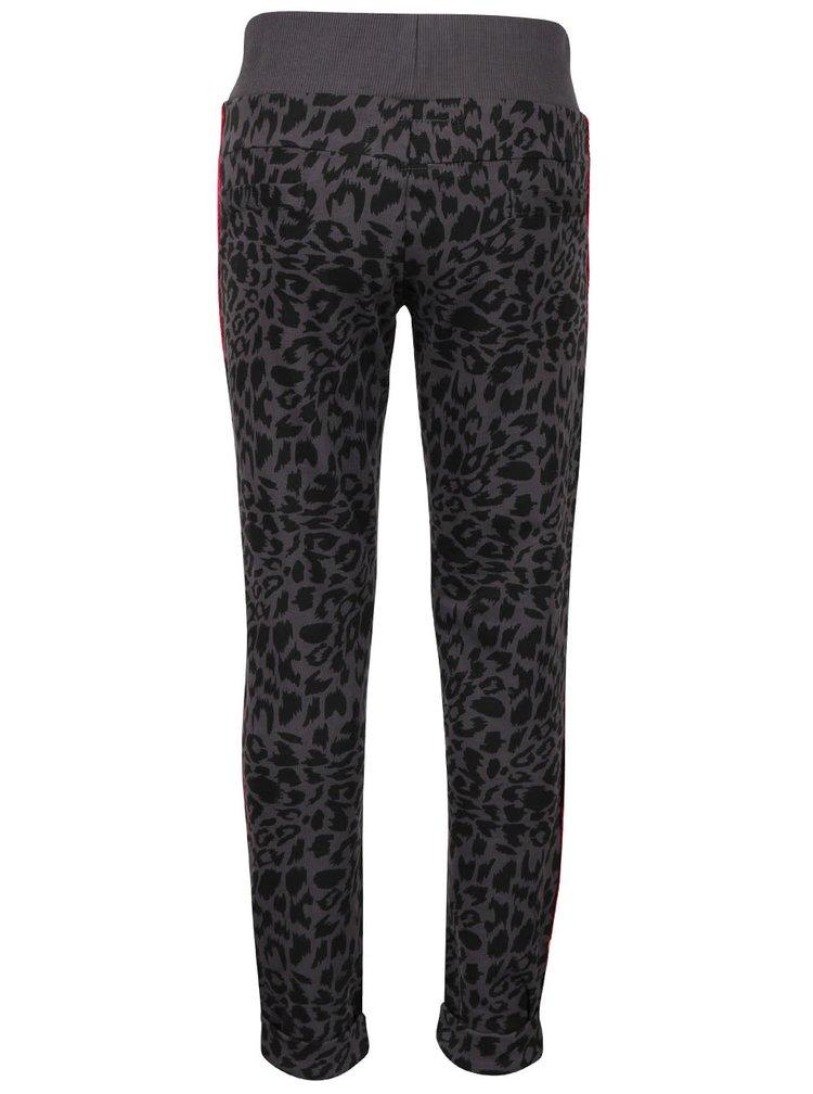 Tmavě šedé holčičí tepláky s leopardím vzorem Cars Jeans Saar