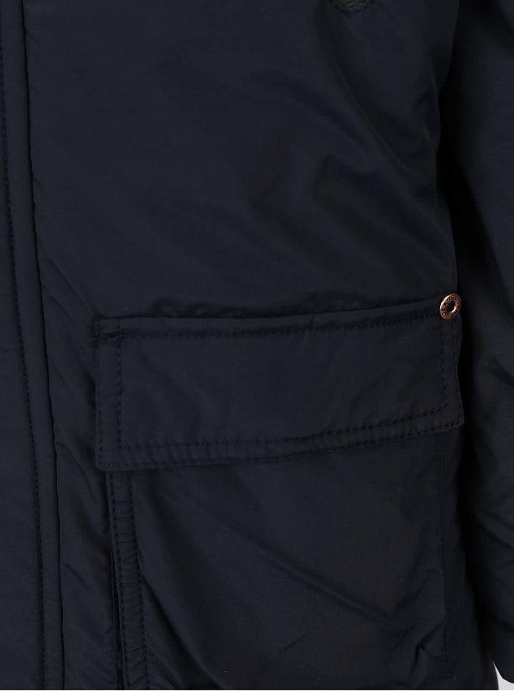 Tmavě modrá holčičí bunda s umělou kožešinou Cars Jeans Prato