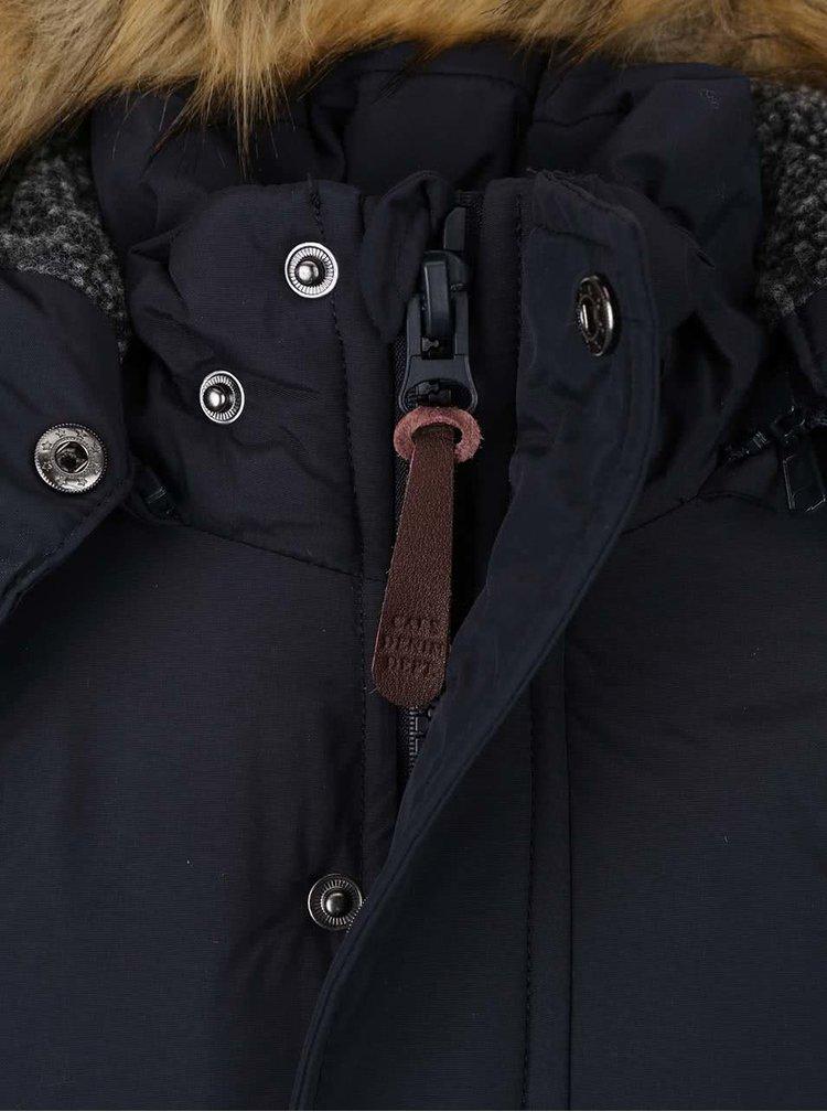 Tmavomodrá dievčenská bunda s umelou kožušinou Cars Jeans Prato