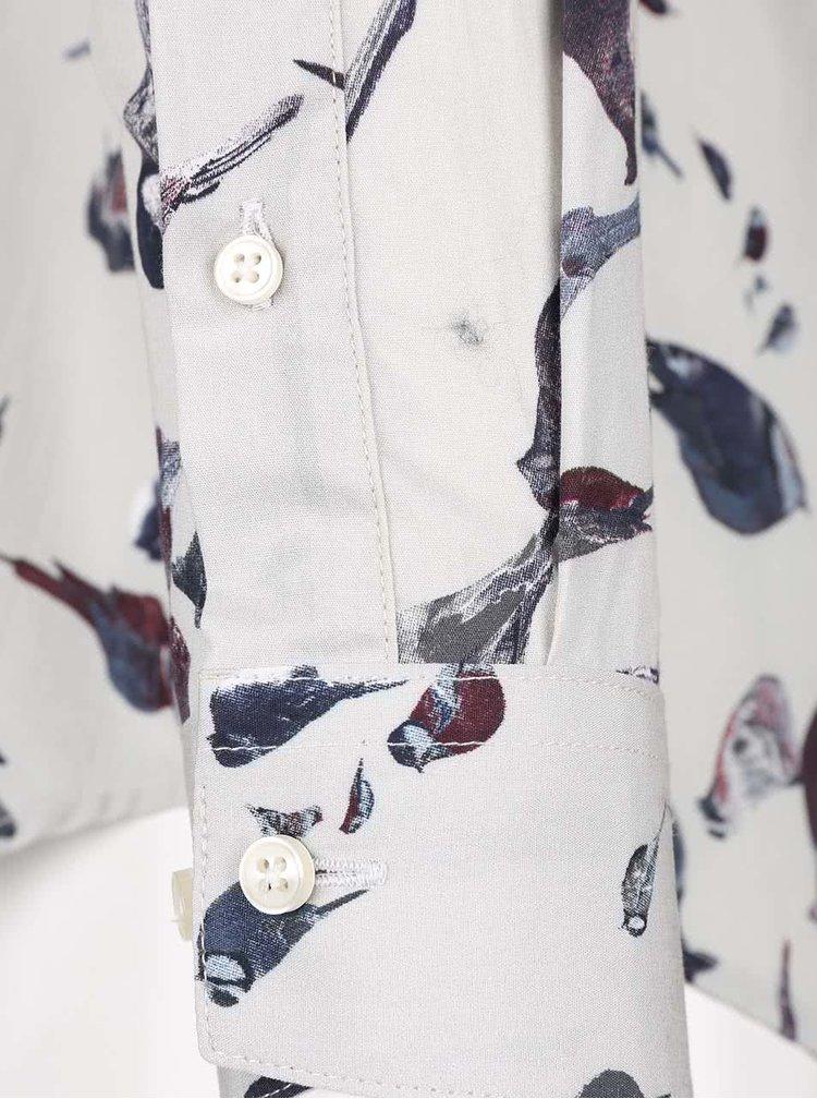 Šedobéžová košile s potiskem Selected Homme One Rocco
