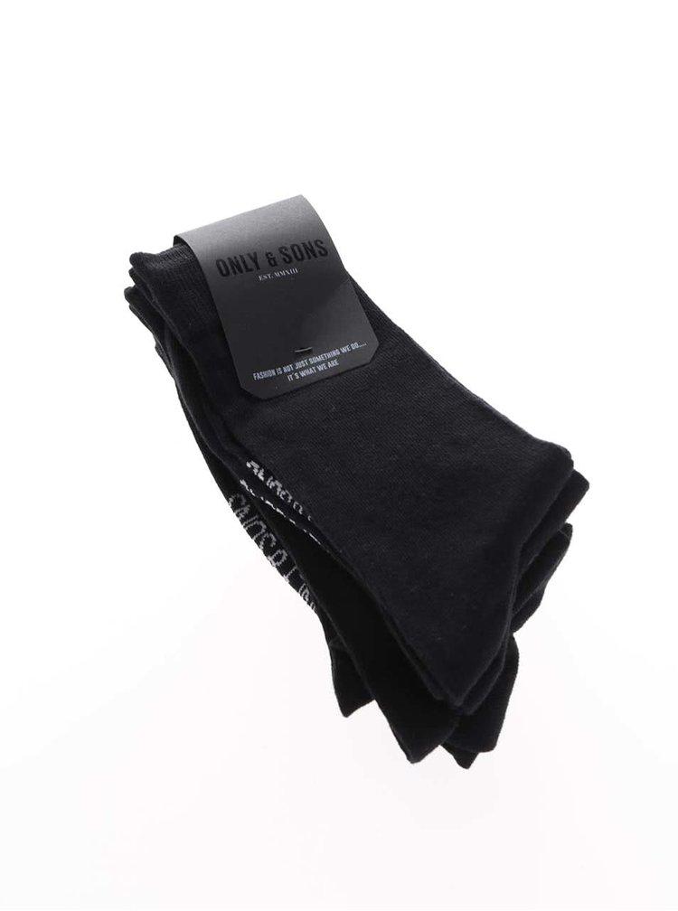 Sada čtyř párů ponožek v černé barvě ONLY & SONS Niko