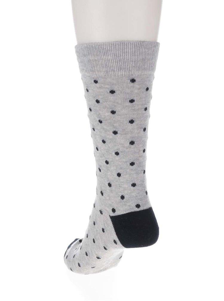 Súprava štyroch párov ponožiek s bodkami v čiernej, sivej a modrej farbe ONLY & SONS Niels
