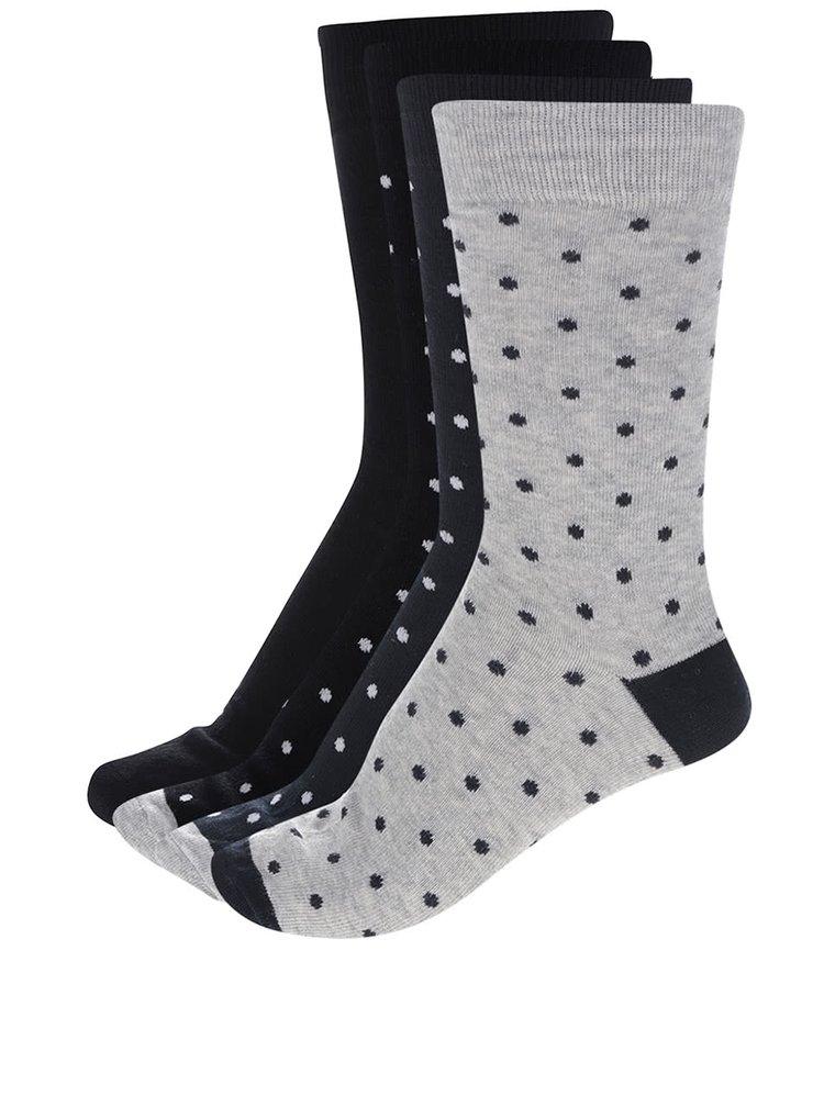 Sada čtyř párů ponožek v černé, šedé a modré barvě s puntíky ONLY & SONS Niels