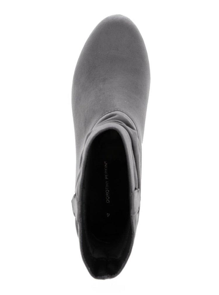 Sivé členkové topánky v semišovej úprave Dorothy Perkins