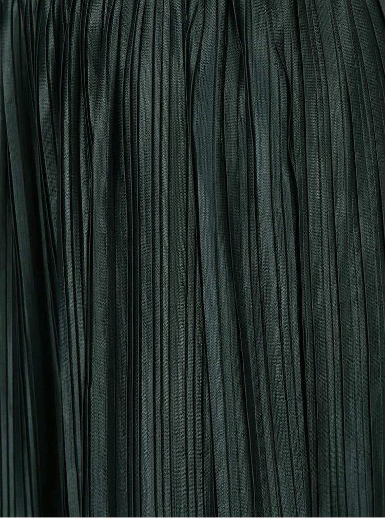 Tmavě zelená plisovaná midi sukně LYDC