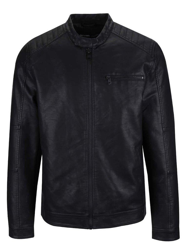 Černá koženková bunda ONLY & SONS Joren