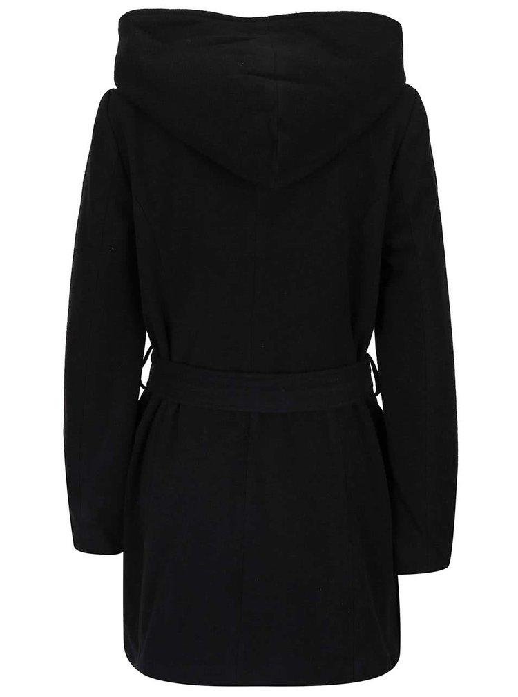 Černý kabát s kapucí VERO MODA Joyce Daisy