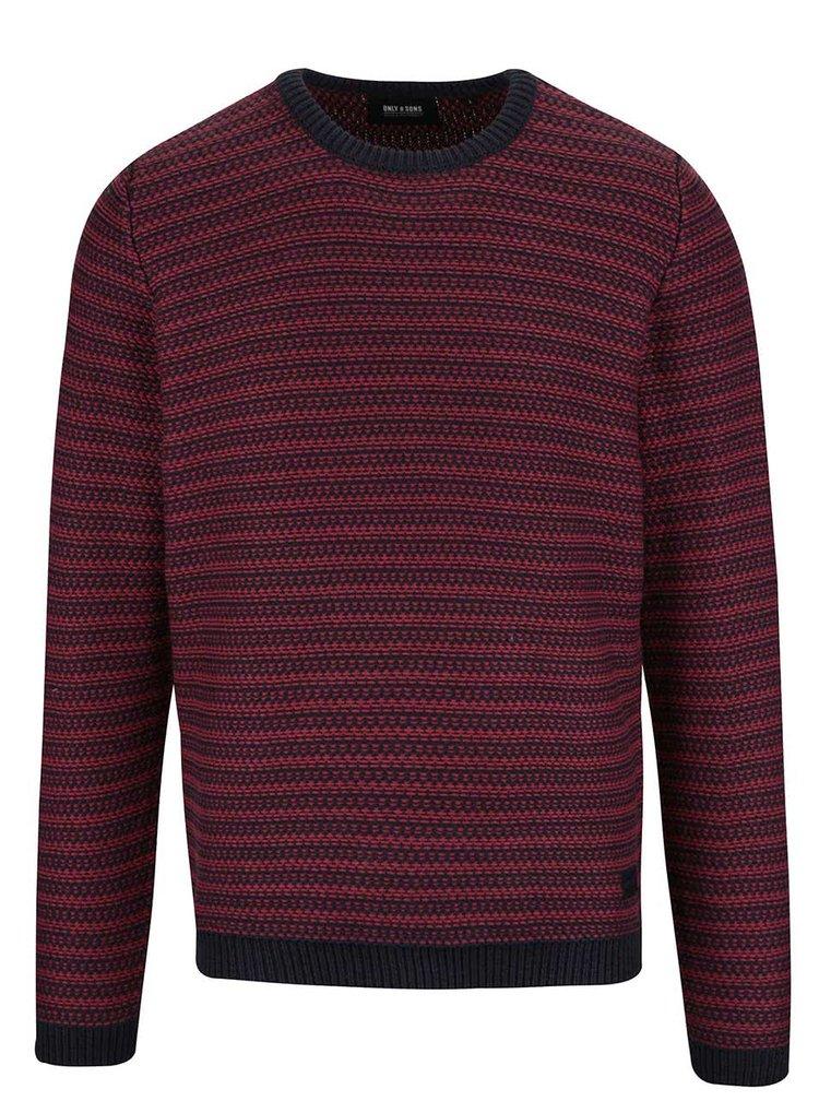 Vínový pruhovaný sveter ONLY & SONS Damien
