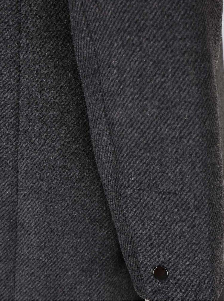 Tmavě šedý kabát s límcem VERO MODA One Dope