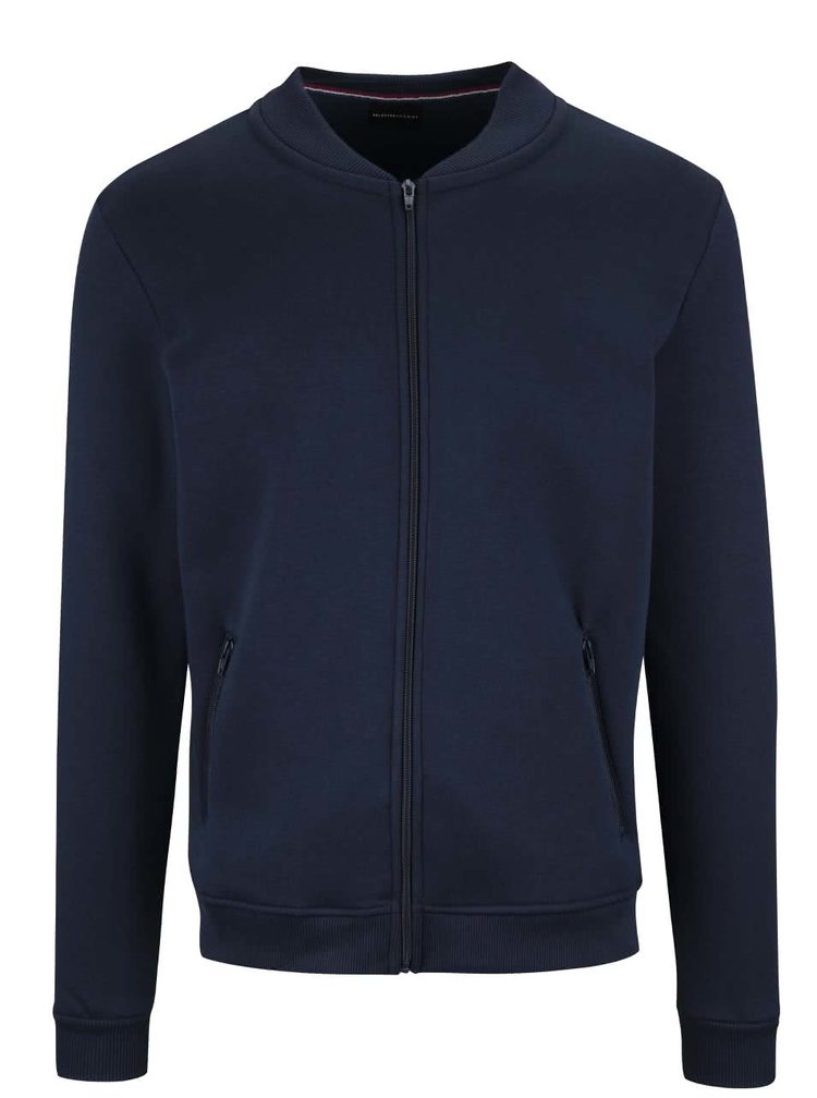 Bluza bleumarin Selected Homme Malte cu fermoar