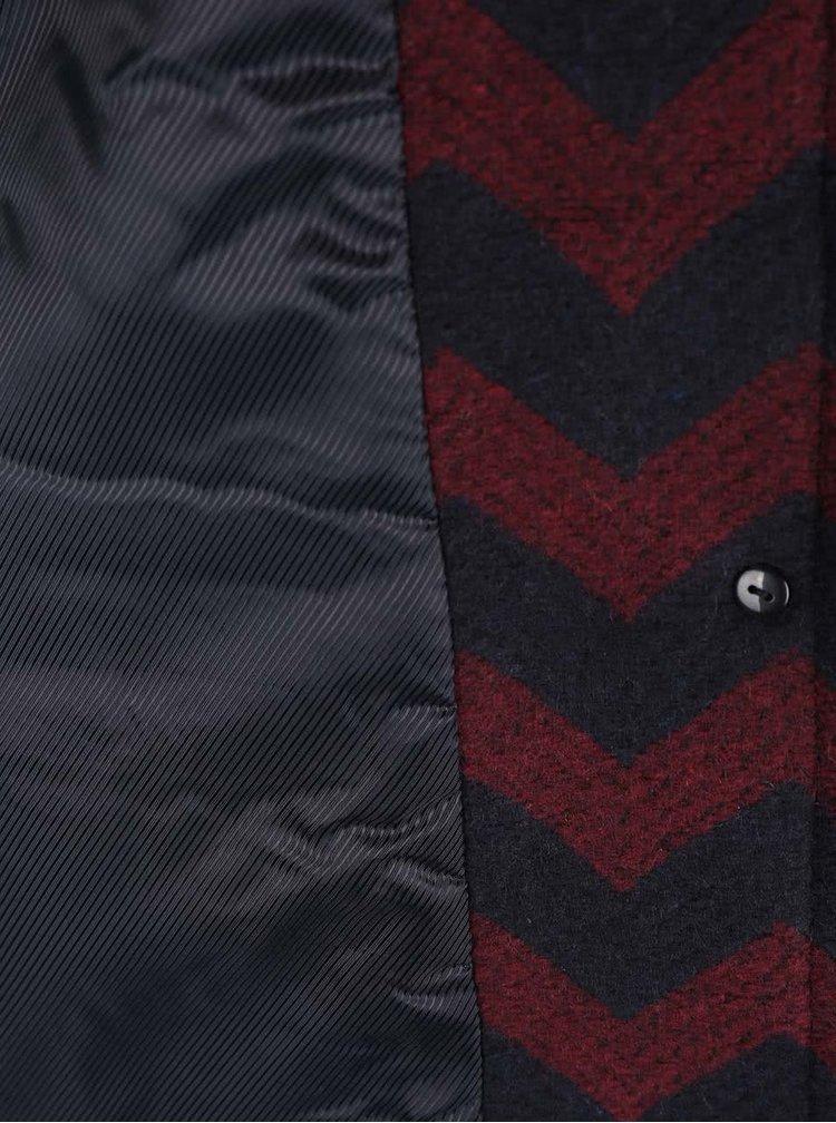 Vínovo-černý vzorovaný kabát VERO MODA Zig
