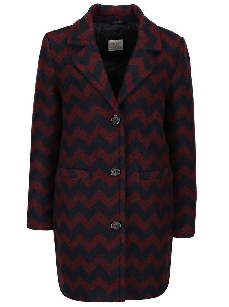 Vínovo-čierny vzorovaný kabát VERO MODA Zig