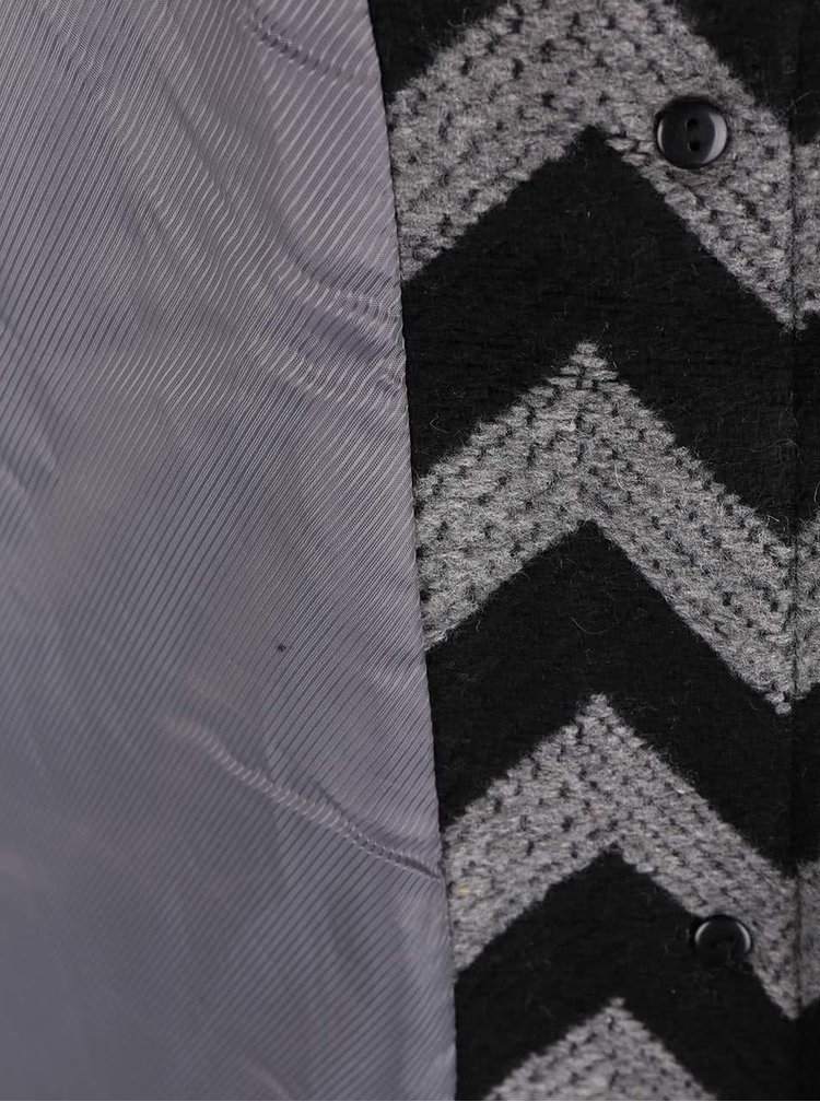 Šedo-černý vzorovaný kabát VERO MODA Zig