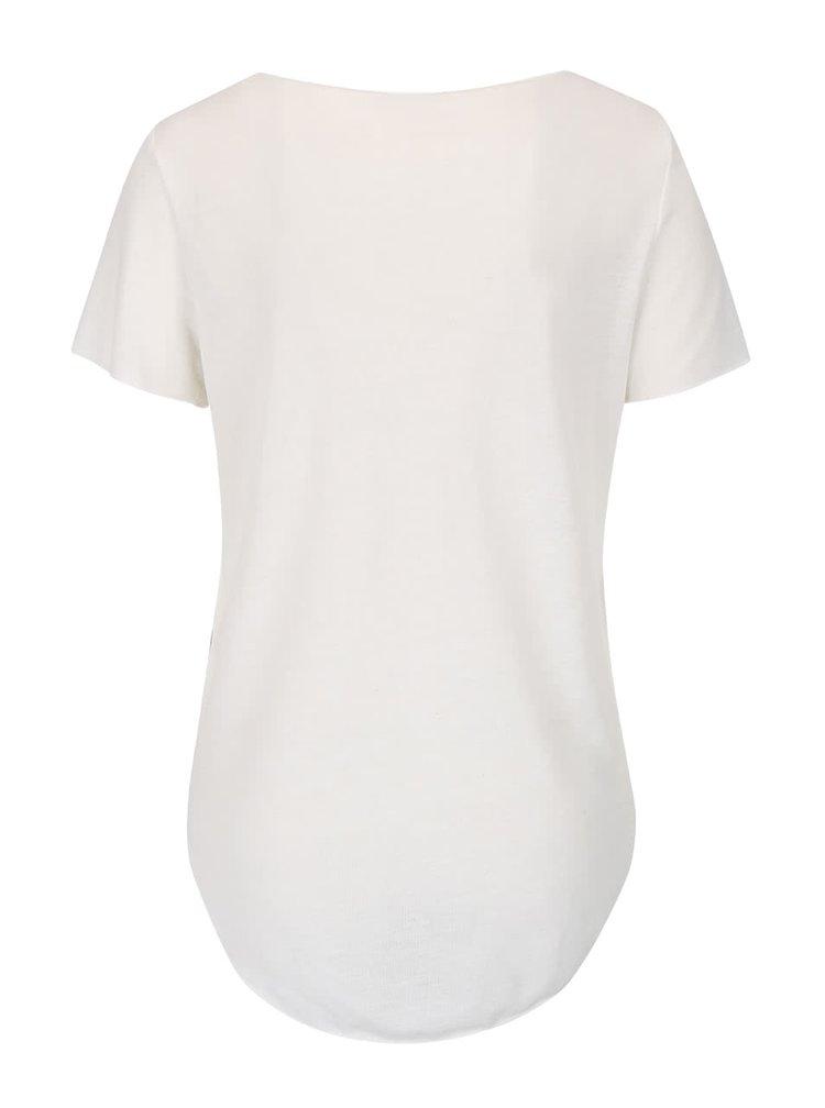Krémové tričko s potlačou VERO MODA Lua