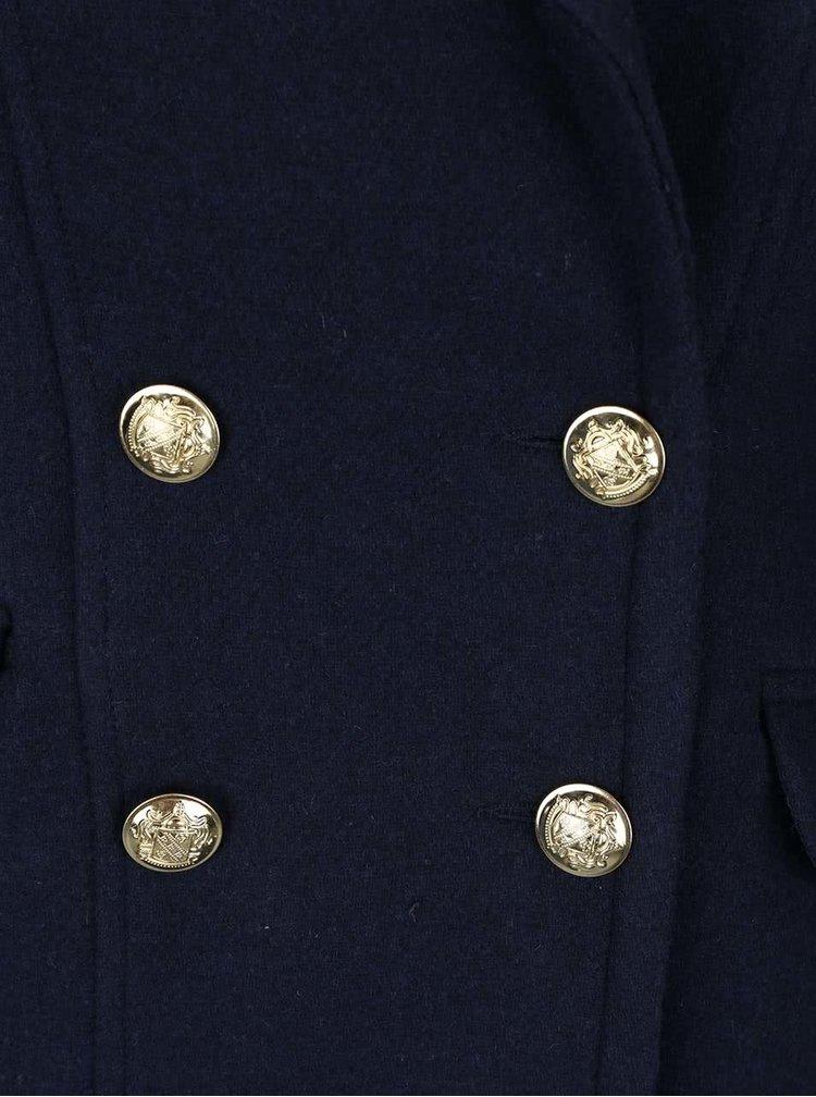 Tmavě modrý dvouřadý kabát s detaily ve zlaté barvě VERO MODA Sweety
