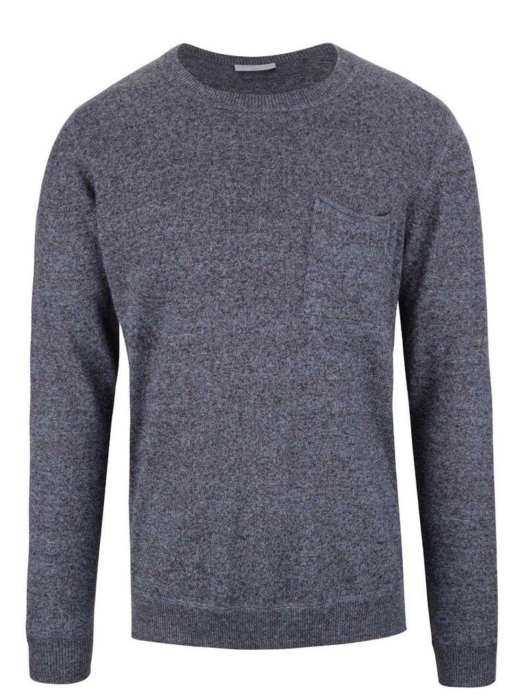 Šedomodrý vlněný svetr Selected Homme Wilton