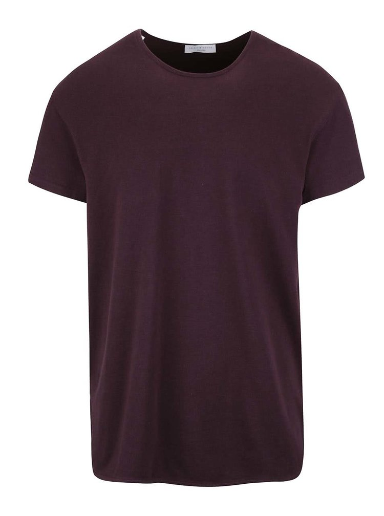 Vínové triko s krátkým rukávem Selected Homme Pine