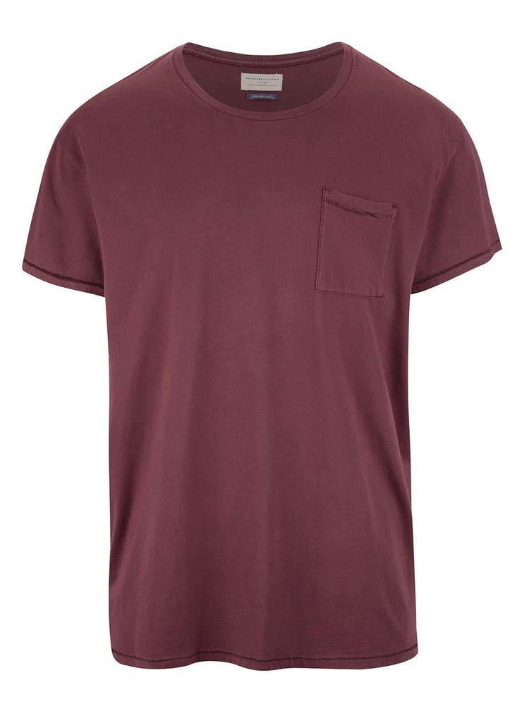Červenohnedé tričko s krátkym rukávom Selected Homme Tristan