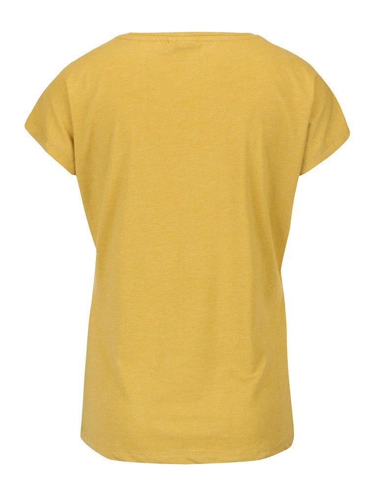 Tricou galben muștar VERO MODA Bella cu imprimeu