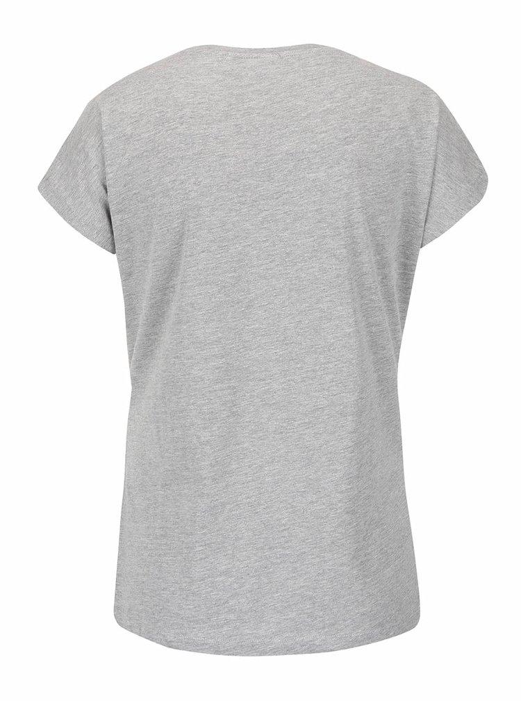 Sivé melírované tričko s potlačou VERO MODA Bella