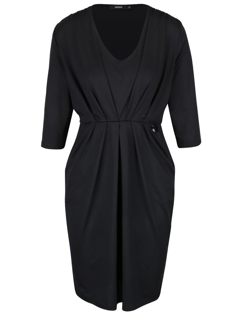 Černé šaty s kapsami Alchymi Manara