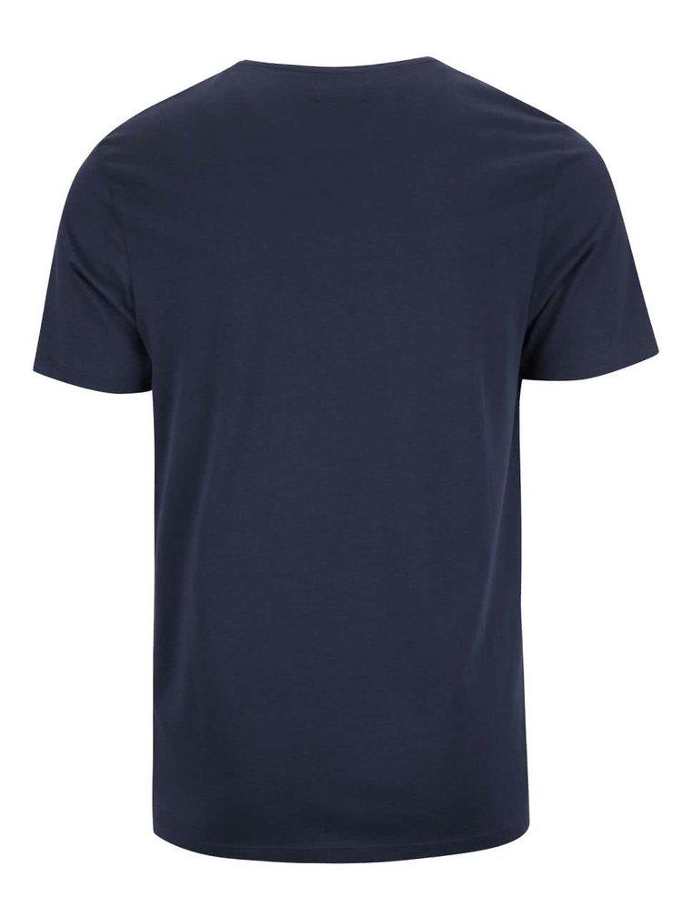 Tricou albastru închis Selected Homme Nicolas din bumbac cu imprimeu