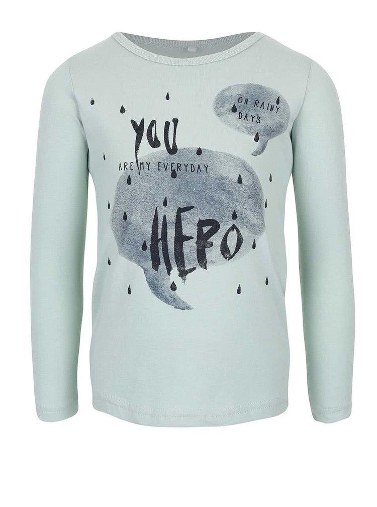 Mentolové dievčenské tričko s potlačou Name it Veen