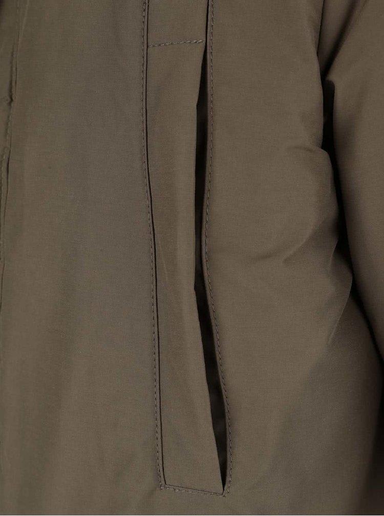 Jachetă lungă kaki impermeabilă Geox cu glugă
