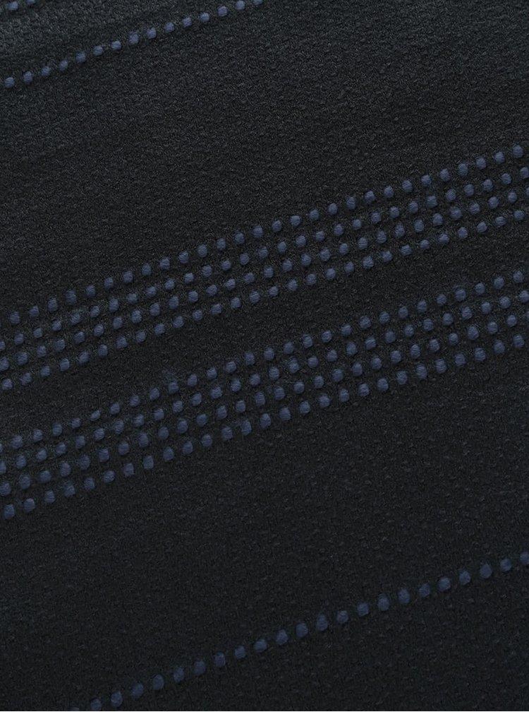 Čierny ľahký šál s prerušovanými modrými pruhmi VERO MODA Lisa
